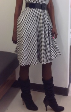 Houndstooth and boots- Carla Franklin