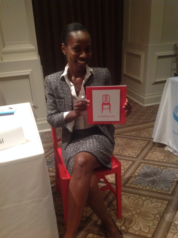 Carla Franklin sitting in the NCWIT Red Chair